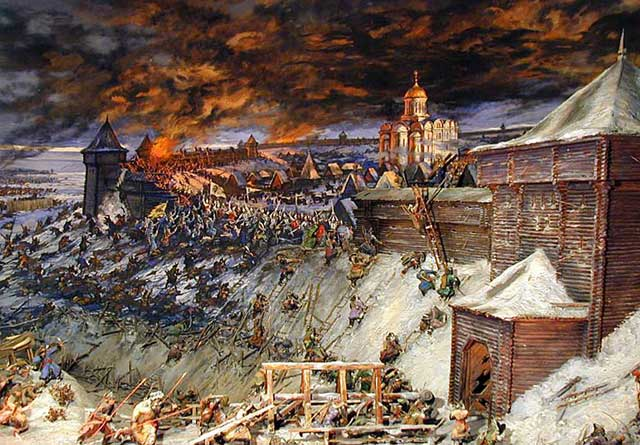 Mongols brutally attacking a Rus city