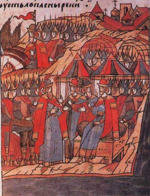 Chronicle depiction of the gathering of troops in Kolomna before the Battle of Kulikovo Field
