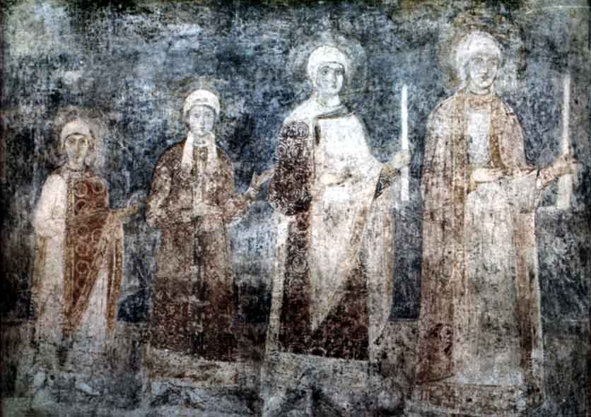 The daughters of Yaroslavl the Wise as depicted in 11th-century frescos in St Sophia's Cathedral in Kiev