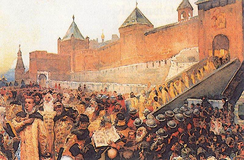 'False Dmitry enters Moscow on 20 June 1605' by Klavdy Lebedev