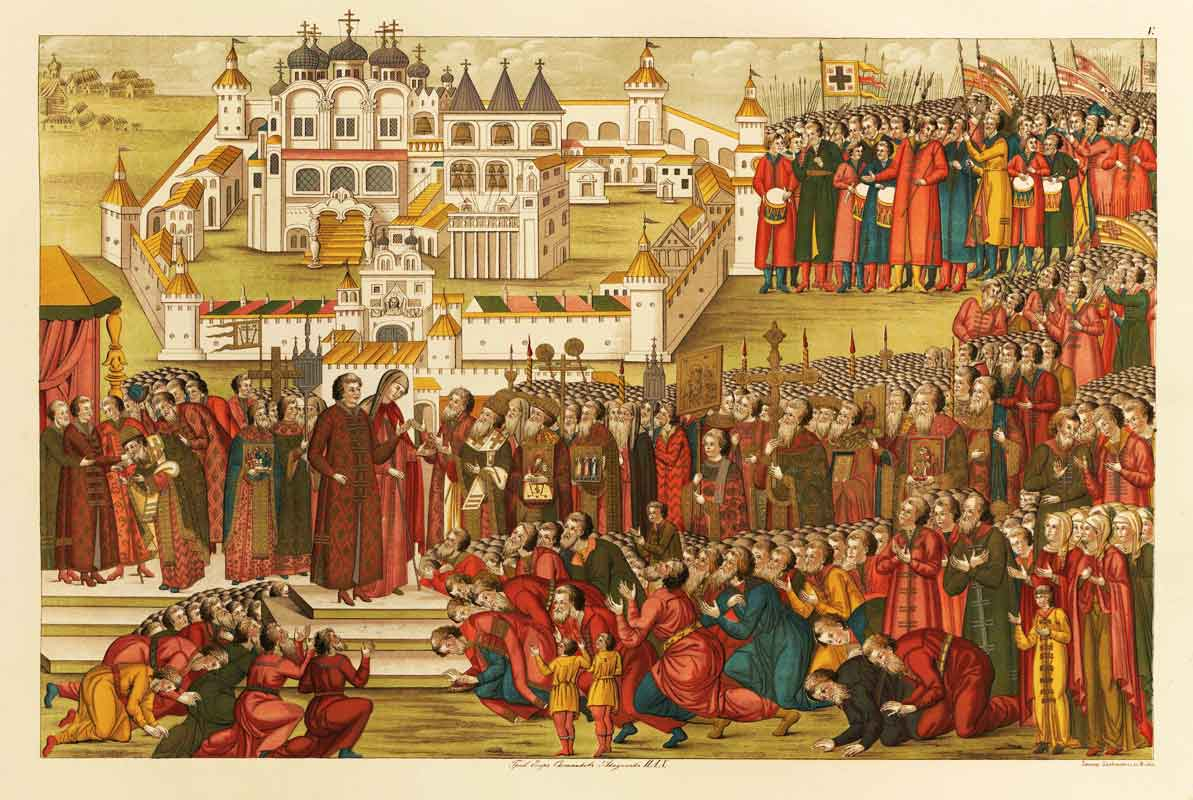Depiction of Mikhail Romanov being offered the throne outside the Ipatievsky Monastery (1673)