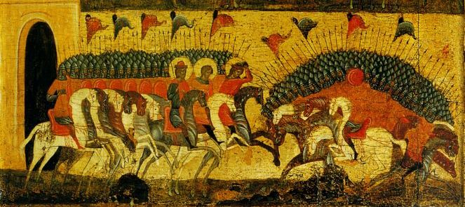 The battle between Novgorod and Rostov-Suzdal as depicted on an icon