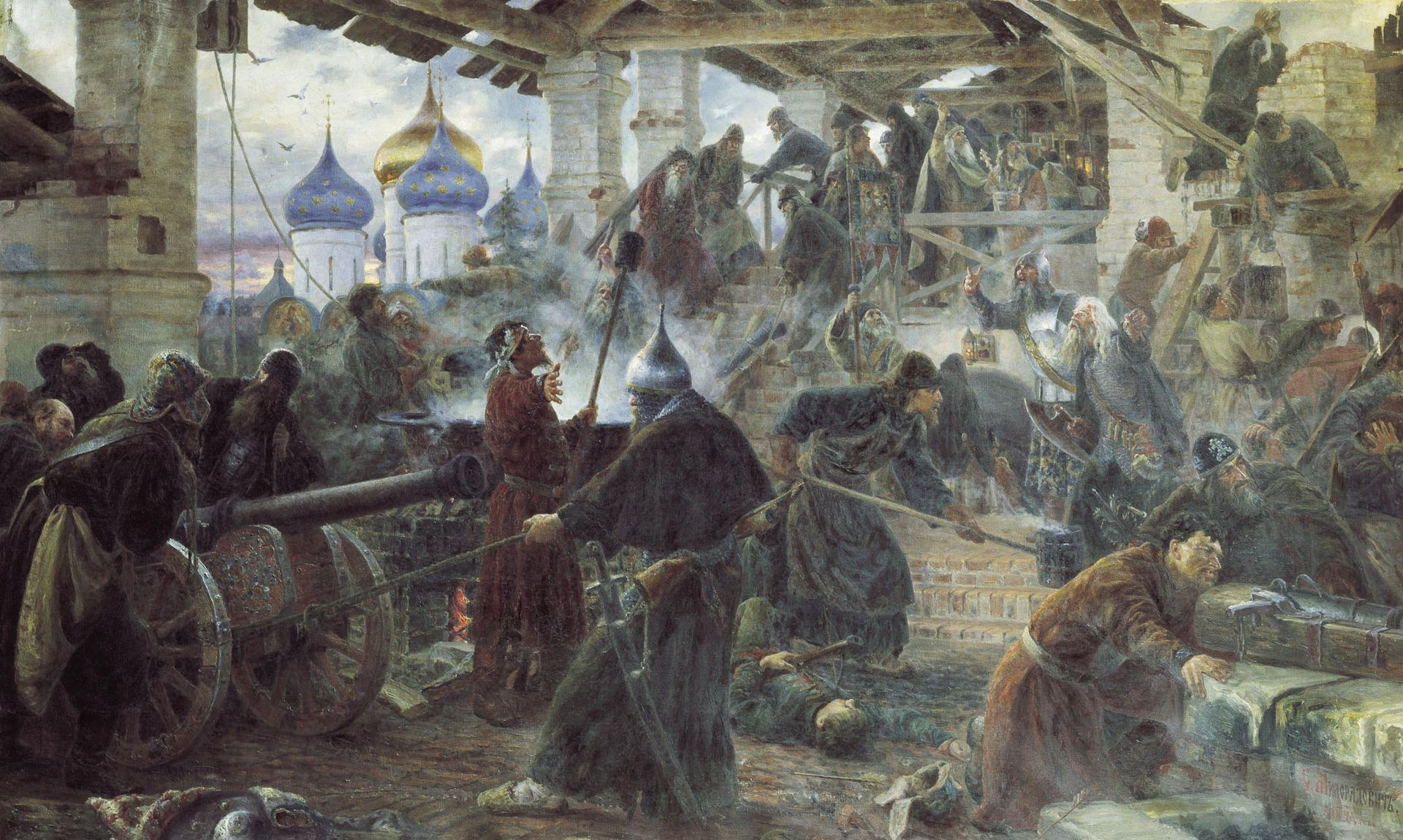 'Defence of the Troitse-Sergieva Lavra against the Poles in 1610' by Sergey Miloradovich (1894)