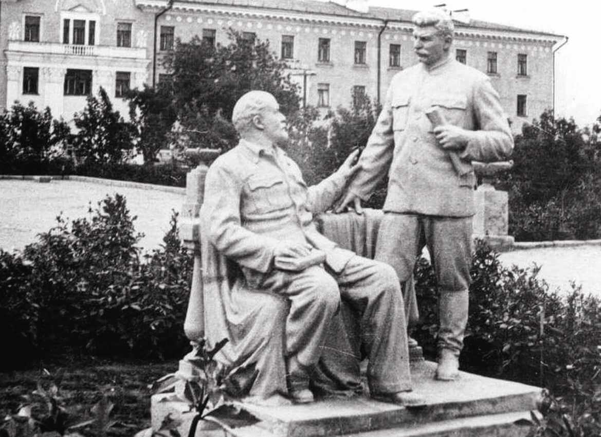 Stalin and Lenin monument in Omsk.
