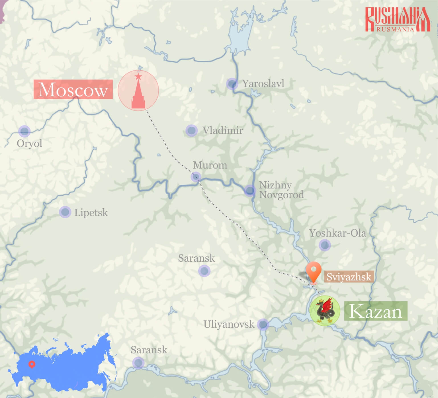 Weekend Tour To Kazan From Moscow Rusmania - Saransk map