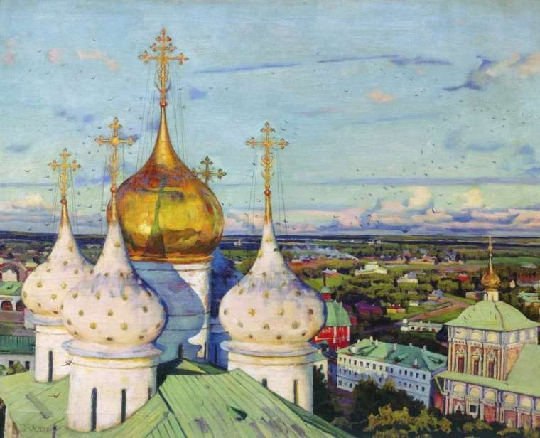 'Domes and Swallows. Troitse-Sergieva Lavra' by Konstantin Yuon